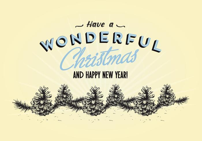 Ha en underbar jul och gott nytt år pinevektor