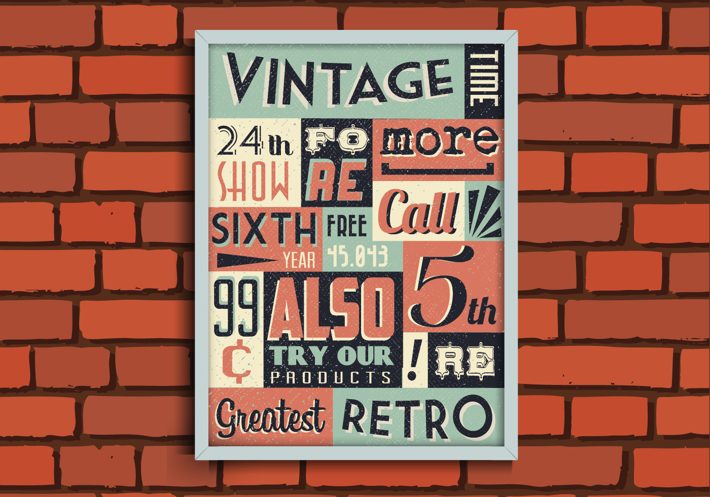 vintage poster on brick wall vector download free vector art