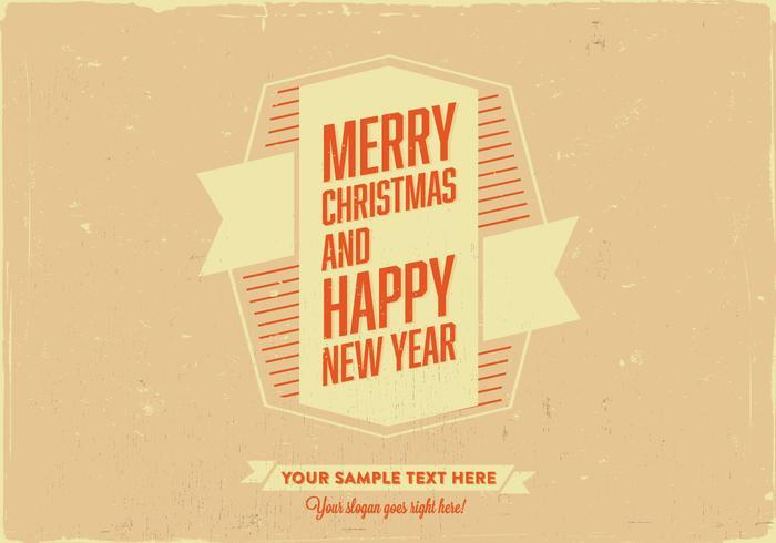 Merry Christmas & Happy New Year Retro Card Vector