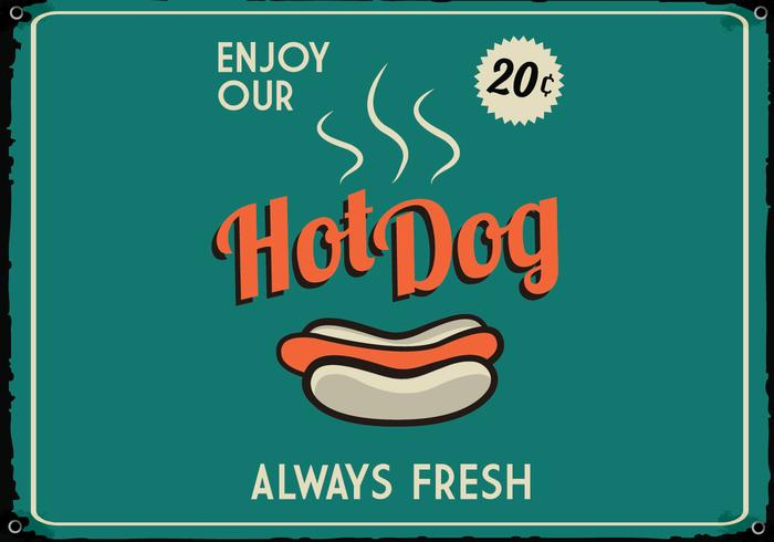 Retro Hot Dog Sign