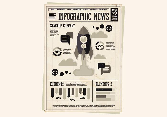Newspaper Rocket Vector