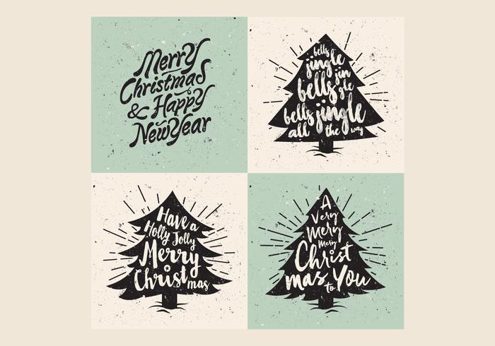Retro Christmas Tree Lettering Vector
