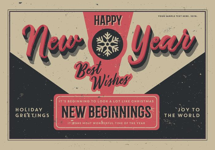 Aged New Year Postcard Vector