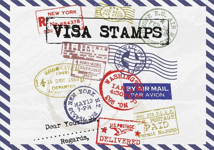 Visa Postzegels Postage Vector