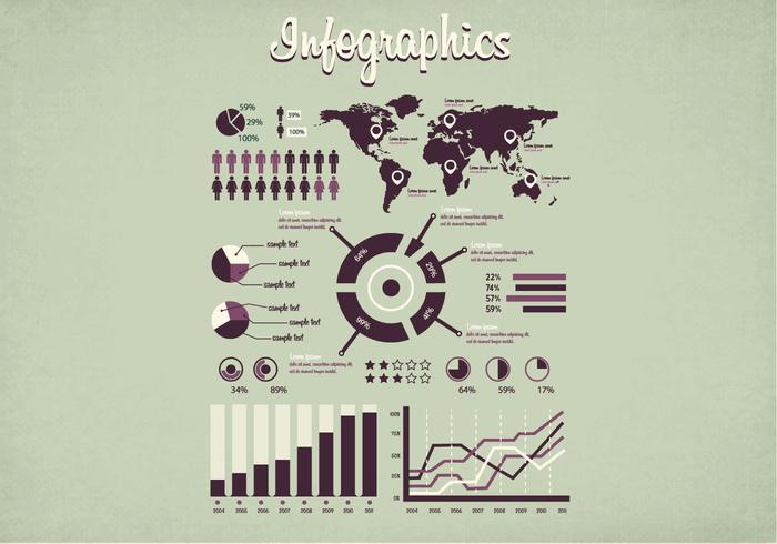 1950s Infographics Vector