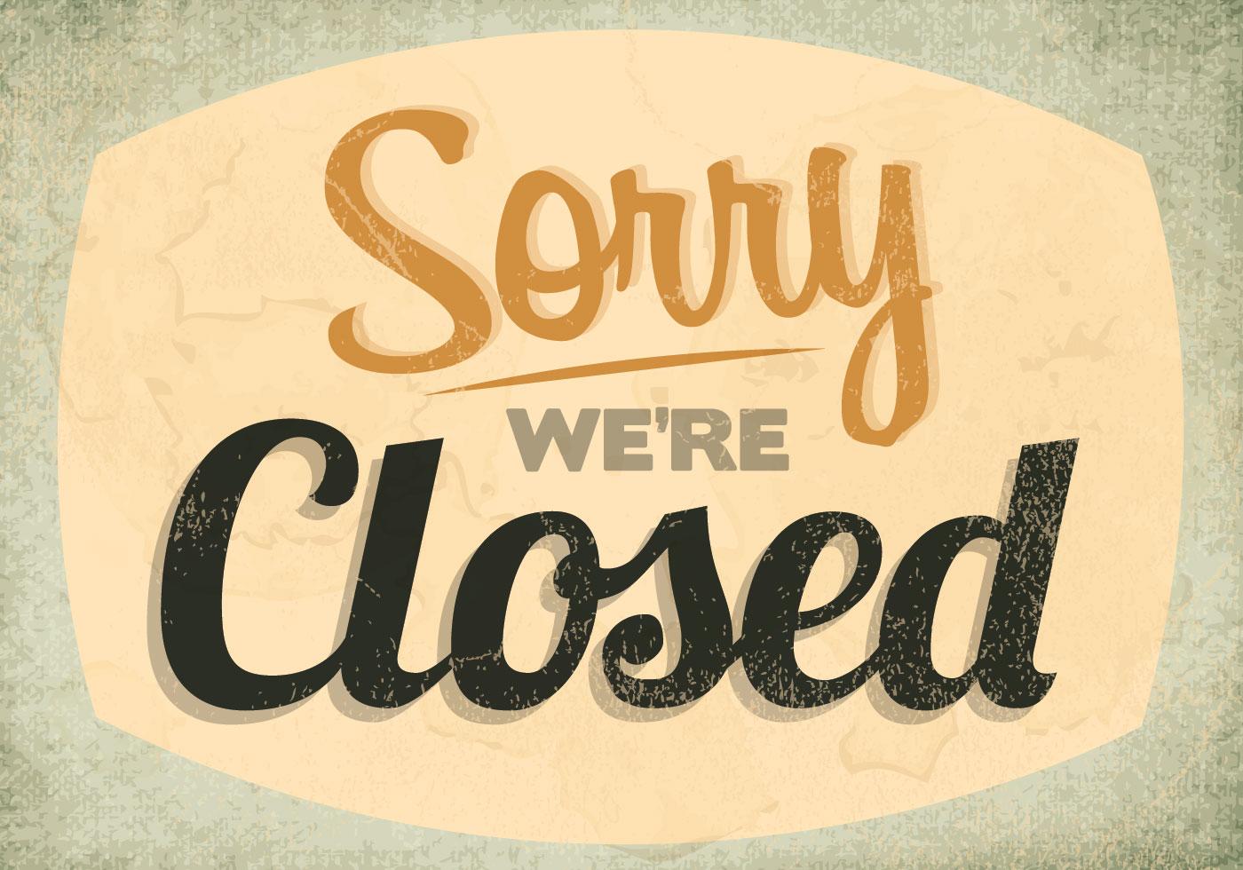 Classic Closed Sign Vector Download Free Vectors