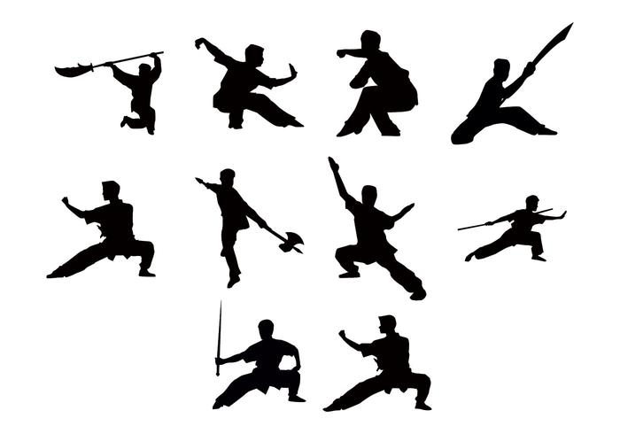 Free Wushu Silhouettes Vector