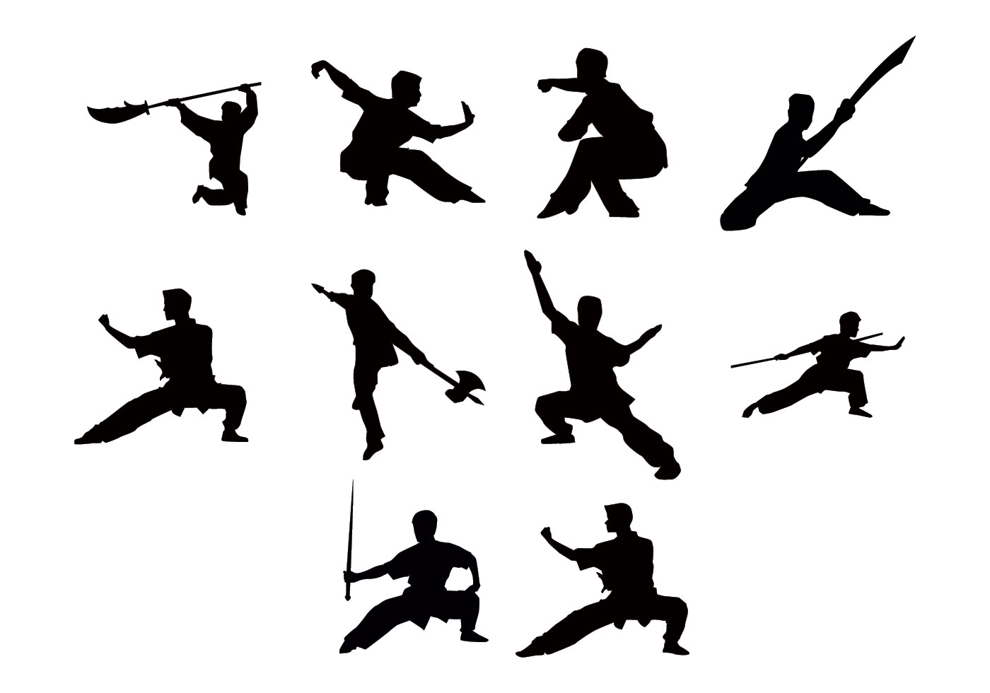 free wushu silhouettes vector download free vector art Yin Yang Black and White Clip Art Ocean Ying Yang Symbol
