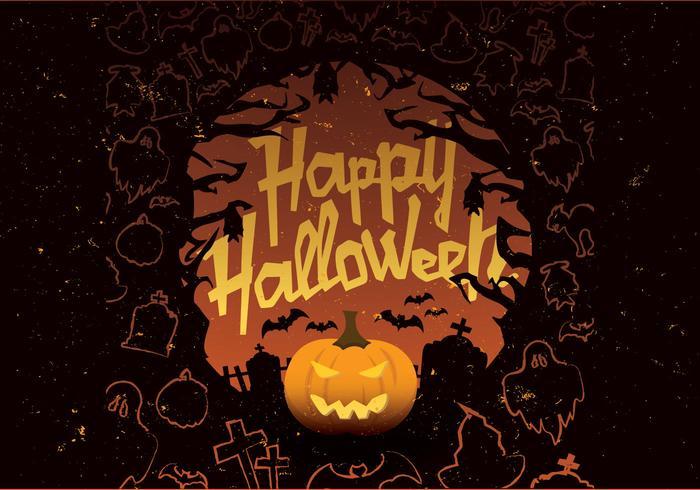 Feliz Halloween laranja e vetor preto