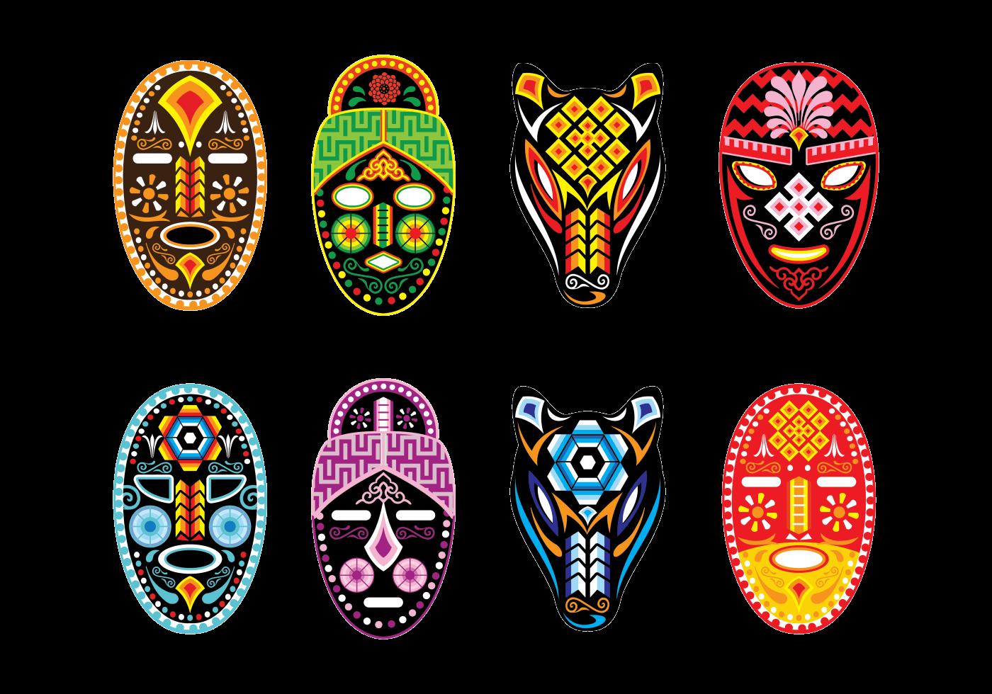 Huichol Mask Vector Download Free Vector Art Stock