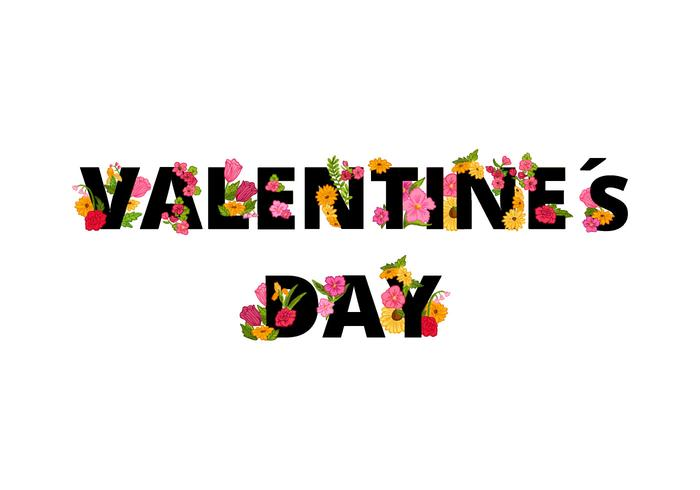 Floral Valentines Day Lettering
