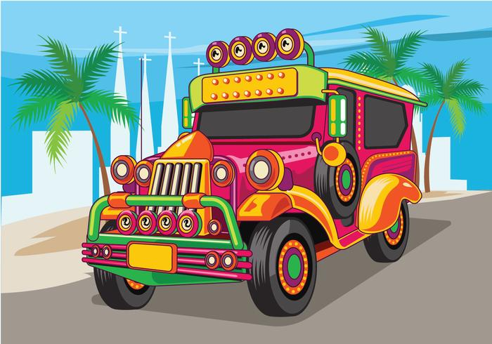 Philippine Jeep vector Illustration or Jeepney