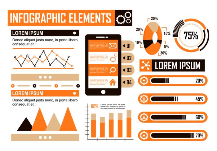 Vecteur d'éléments infographiques orange