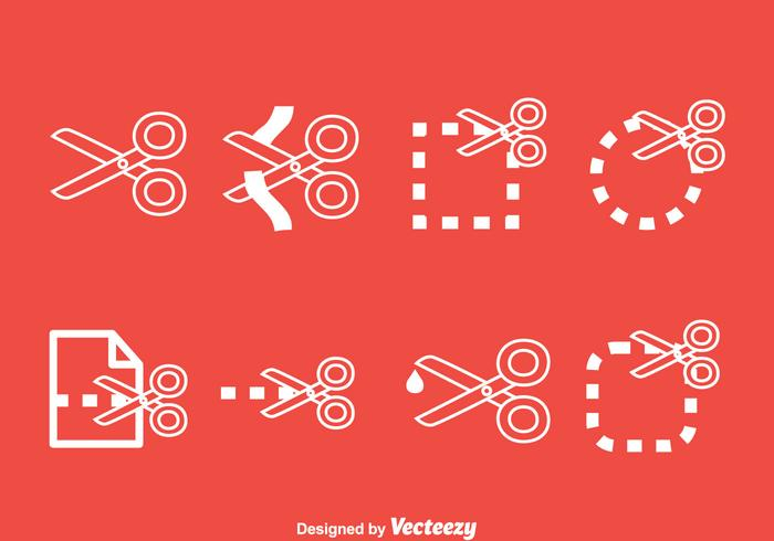 Scissor Cutting Line Icons Vector Set