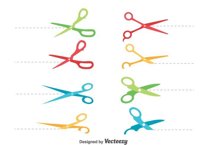 Colorful Scissor Cut Lines Vector Set