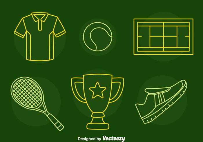 Tennis Line Icons Vector