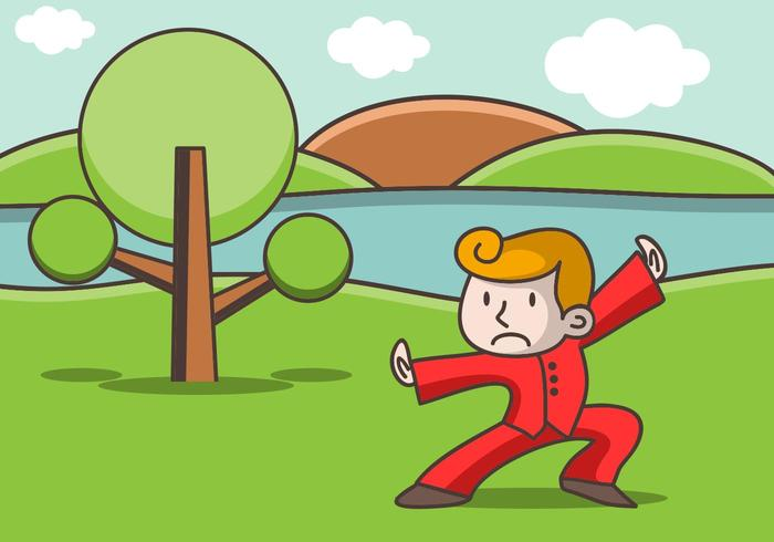 Illustration Of Wushu Fighter While Training