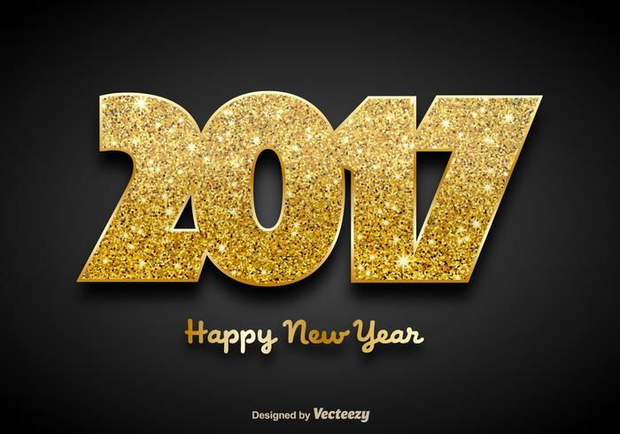 Golden 2017 Happy New Year Background - Vector
