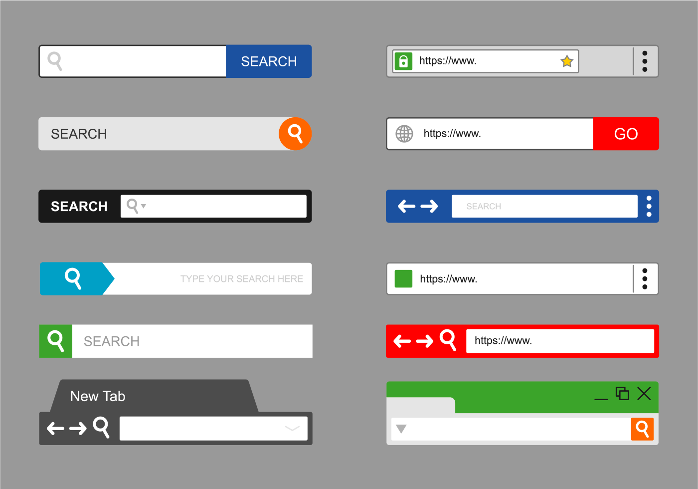gray web elements website design components buttons form slider web