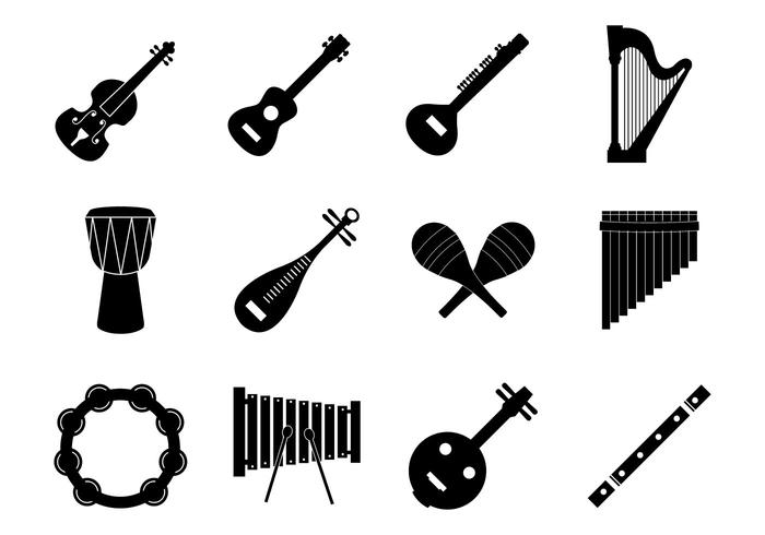 Free silhouette Music Insrument Icons Vector