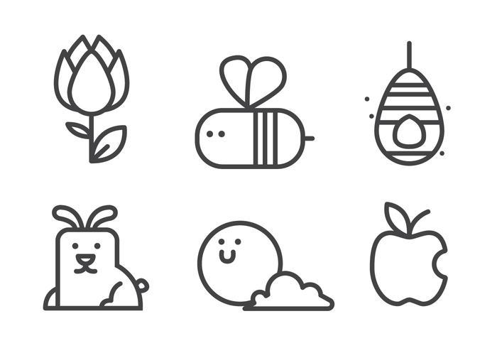 Ensemble d'icônes de ressort vecteur