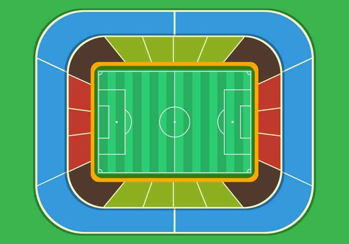 Football Ground Stadium Top View