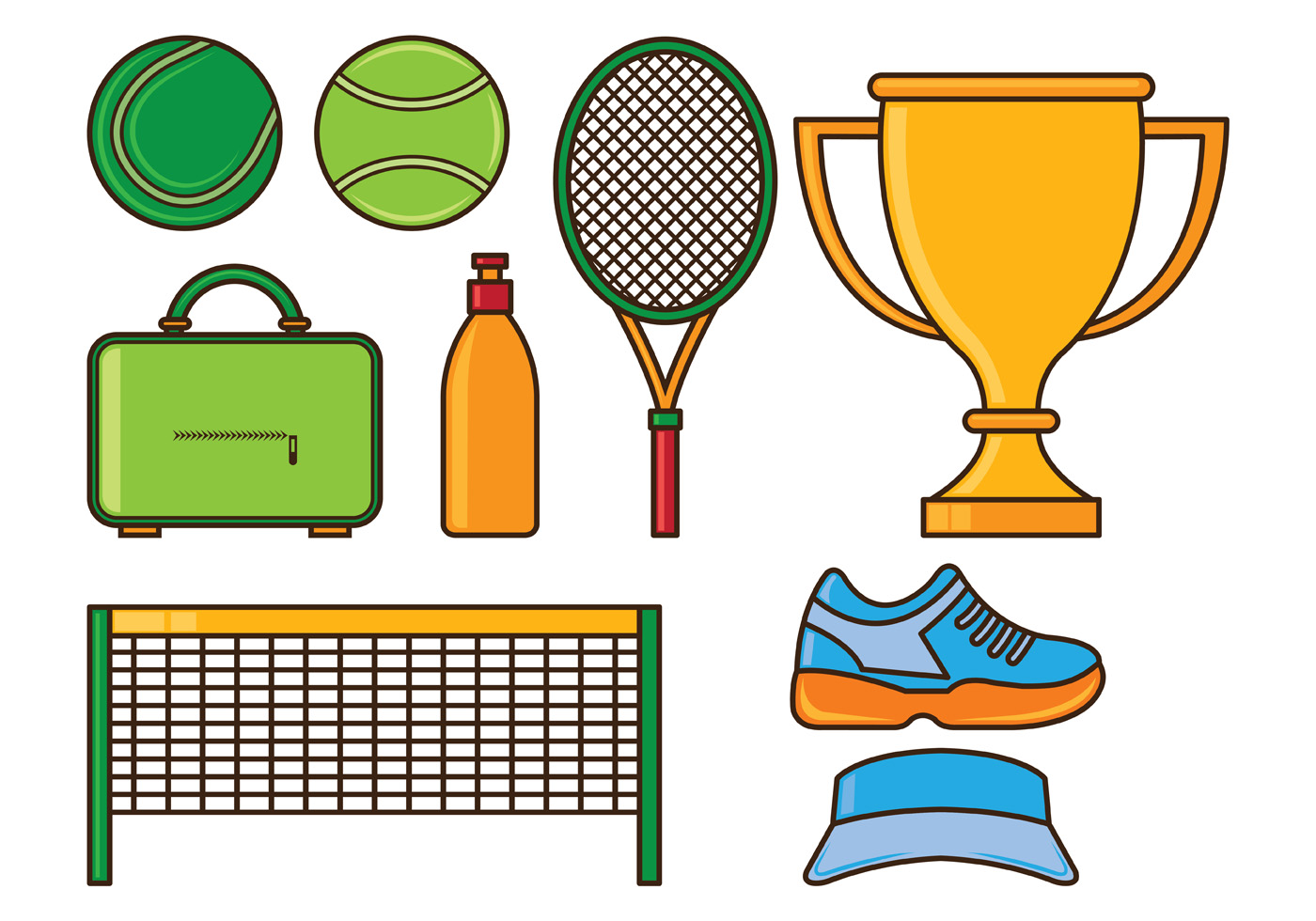 Set Of Tennis Icons Download Free Vector Art Stock