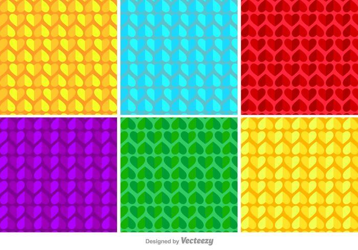 Geometric Hearts Vector Pattern