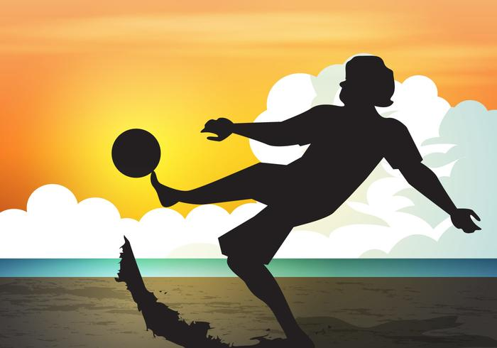 Puesta de sol deportiva de fútbol de playa