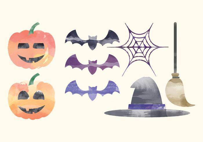 Vector Halloween Watercolor Elements