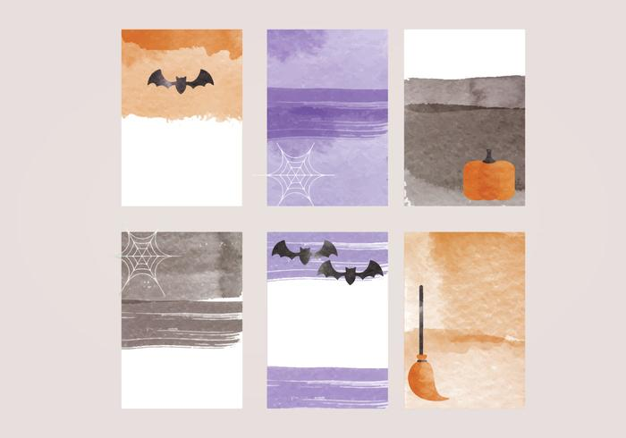 Vector Halloween Watercolor Cards