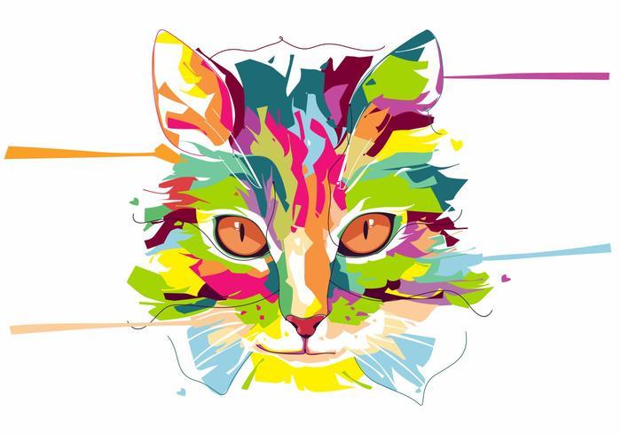 Chat - vie animale - portrait d'art pop