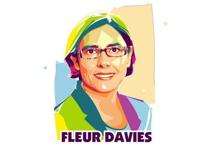 Fleuer davies - vie scientifique - popart portrait vecteur
