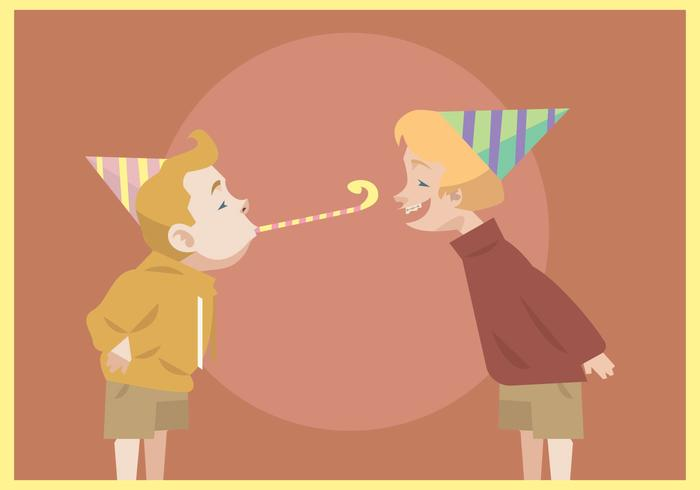 Two Kids With Party Blower and Hat Vector