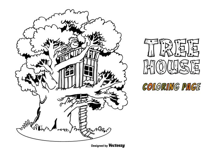 Free Tree House Vector Coloring Page Download Free Vector Art