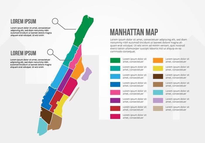 Infografia gratuita do mapa de Manhattan