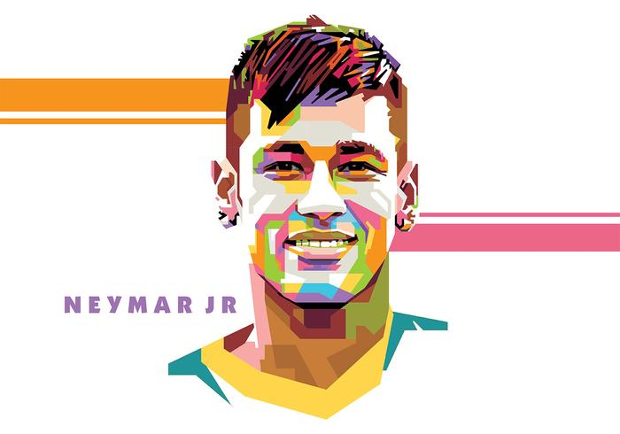Neymar - vie de football - popart portrait