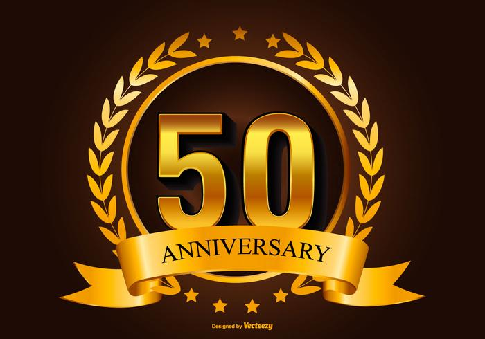 Golden 50th Anniversary Illustration