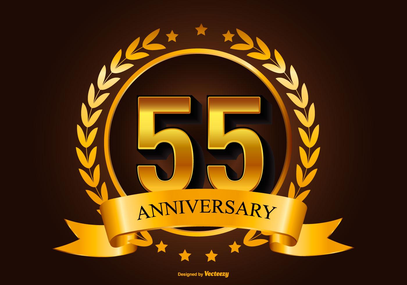 Golden 55th Anniversary Illustration Download Free