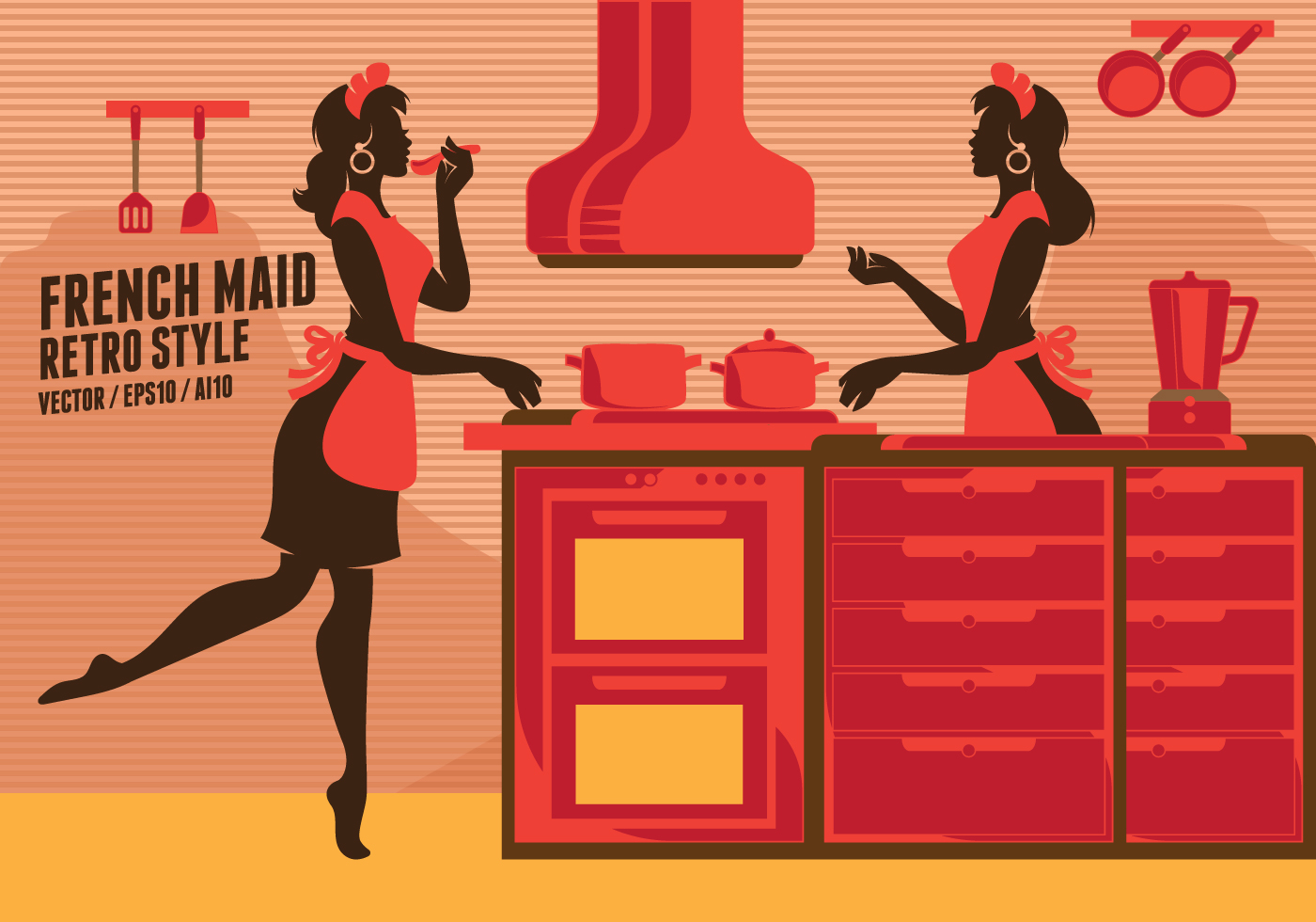 French maid retro clip art download free vector art stock graphics images