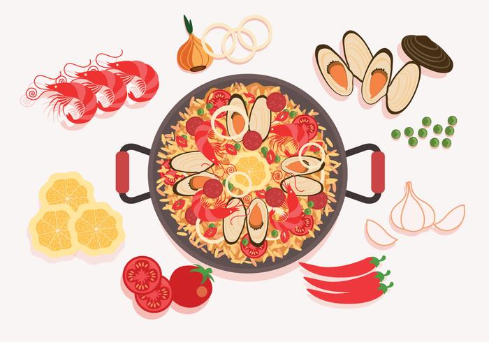 Paella Ingredients Vector