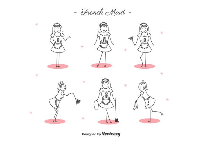Free Cartoon French Maid Vector