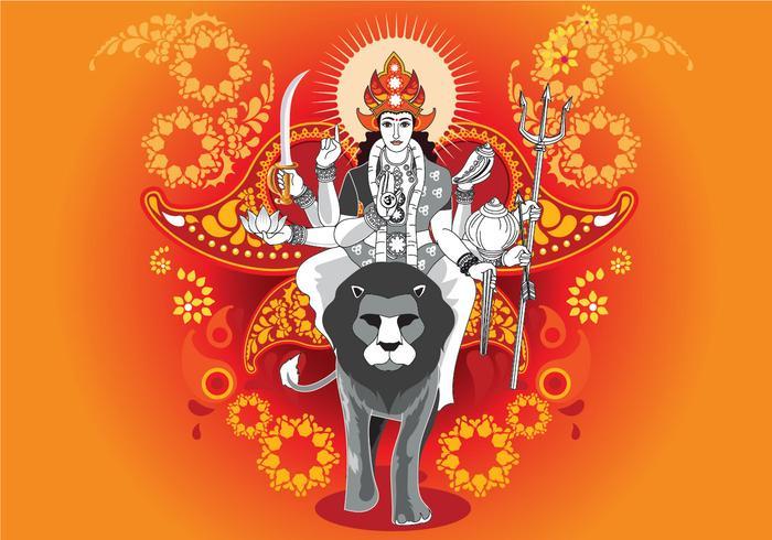 Vektor-Illustration der Göttin Durga in Subho Bijoya