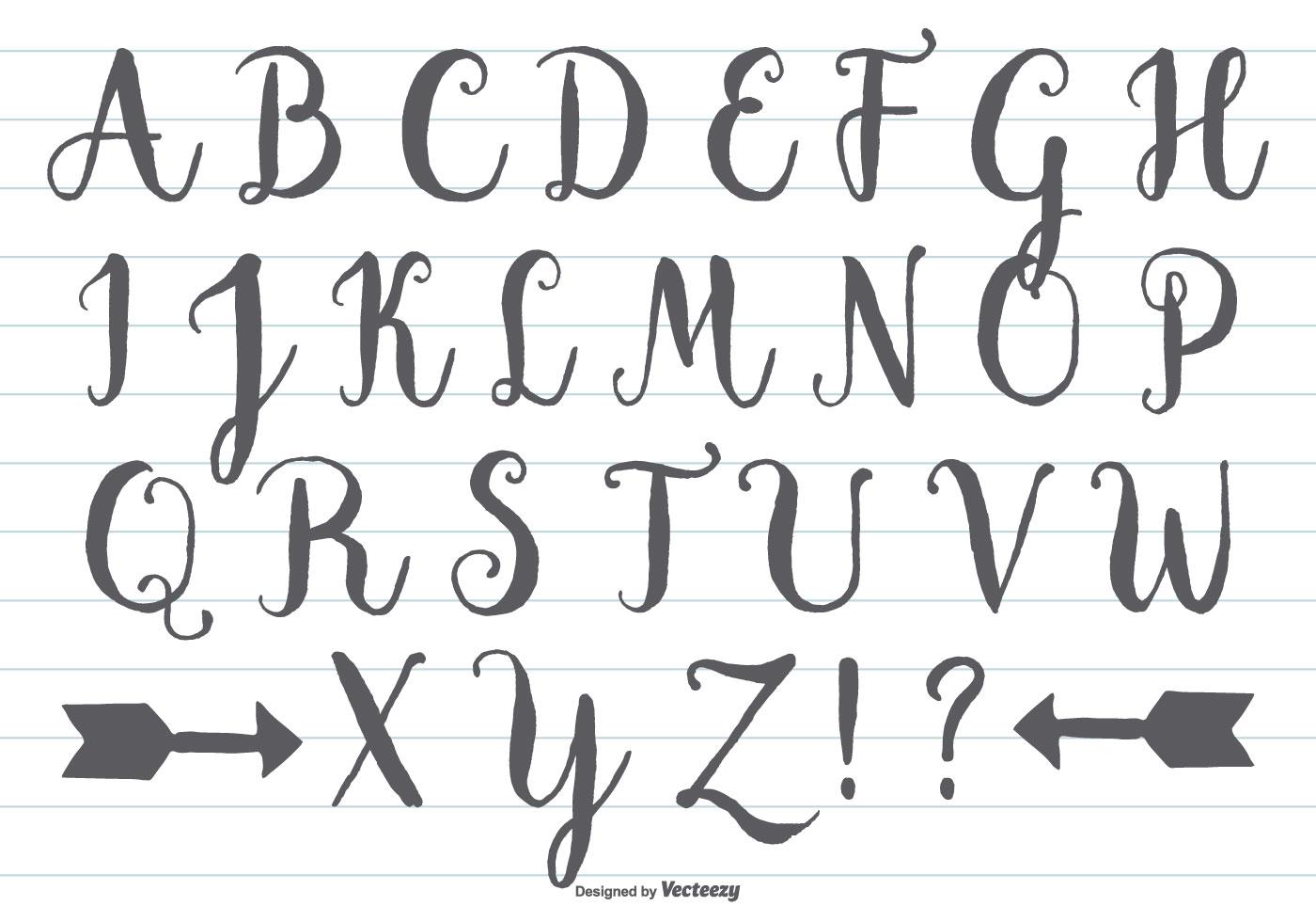 Hand Drawn Calligraphic Alphabet - Download Free Vectors ...