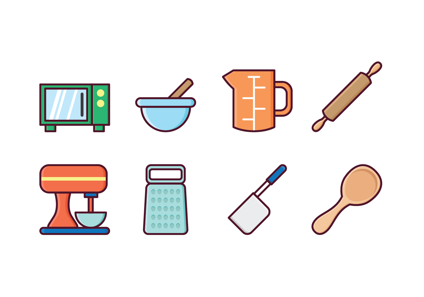 Free kitchen icon set download free vector art stock for Kitchen set vector