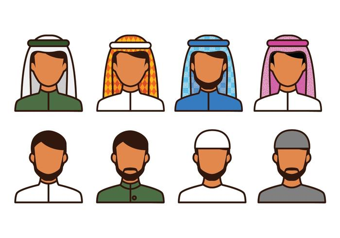 Icônes d'Avatar Musulman Gratuites vecteur