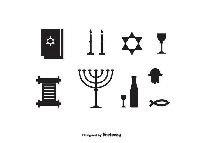 Shabbat Black Icons vector