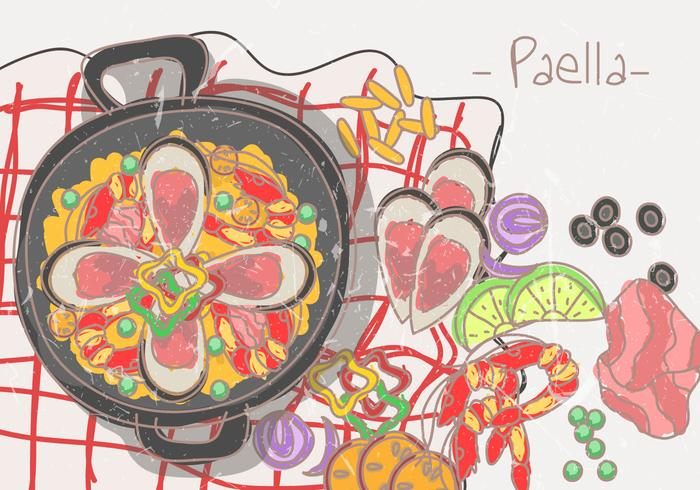 Paella cuisine espagnole vecteur