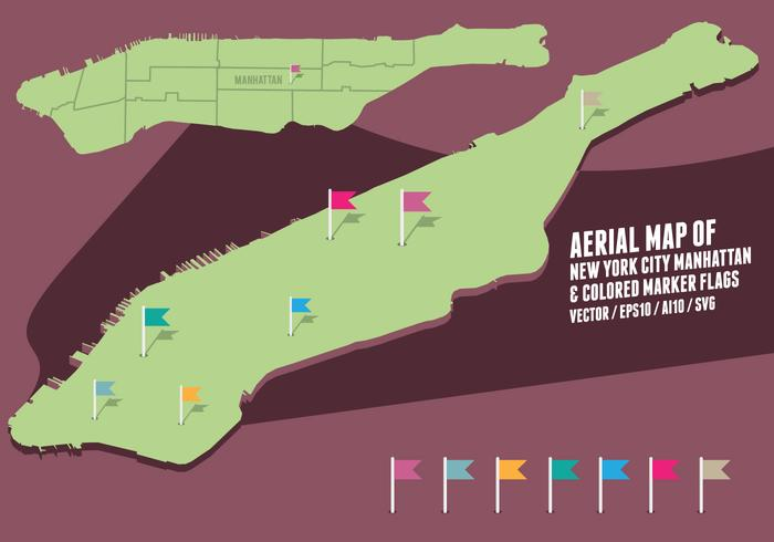 Aerial Map of New York City Manhattan & colored marker flags