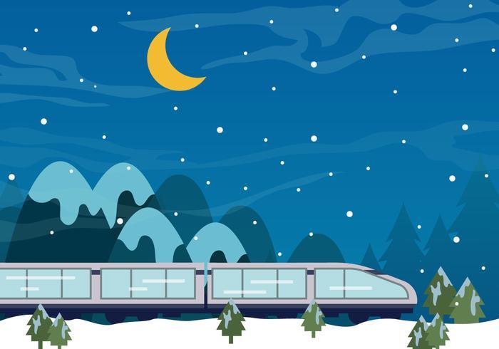 Tgv Train In The Night Of Snow